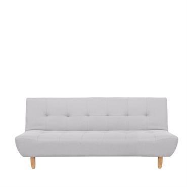 Canapé-lit clic clac 3 places avec revêtement en tissu gris clair. Ce canapé fournit un espace necessaire pour se détendre et accueilir jusqu'à 3 personnes. Vous pourrez vous y asseoir ...
