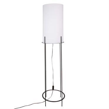 Lampadaire en métal noir et abat-jour blanc H155