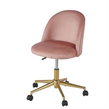 Chaise de bureau vintage à roulettes en velours rose Mauricette