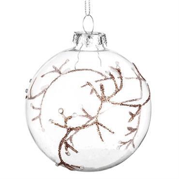 Boule de Noël en verre imprimé branchage marron