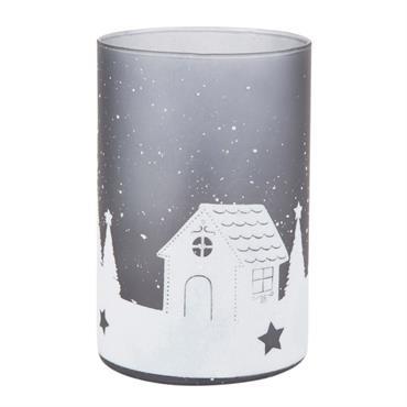 Lumignon de Noël en verre imprimé paysage gris