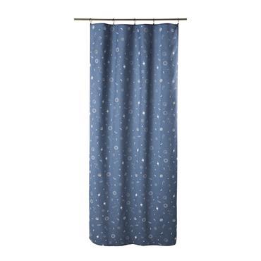 Rideau à illets bleu marine imprimé à l'unité 110x250