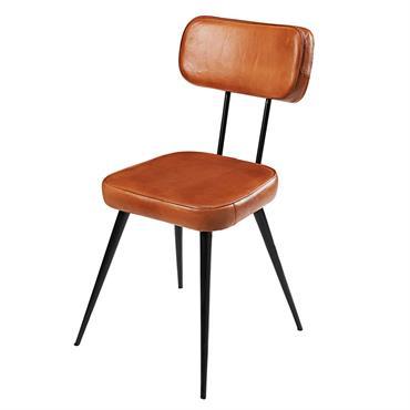 Chaise en cuir de chèvre et métal noir Clapper