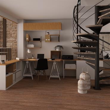 Création d'un bureau séparé de la pièce de vie par une cloison