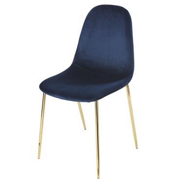 Chaise style scandinave en velours bleu nuit Clyde