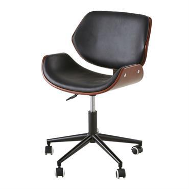 Chaise de bureau réglable à roulettes imitation cuir Kent