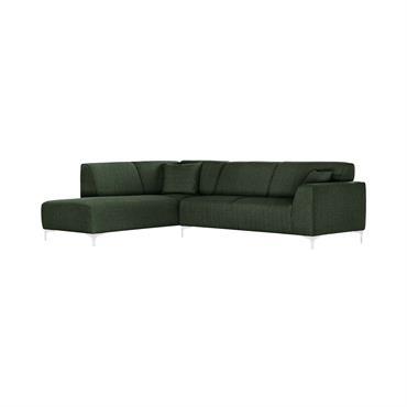 Canapé d'angle gauche 5 places toucher lin vert