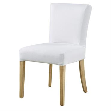 Housse de chaise en lin blanc