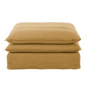 Pouf de canapé en lin ocre Pompei