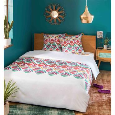 Parure de lit en coton imprimé multicolore 240x260