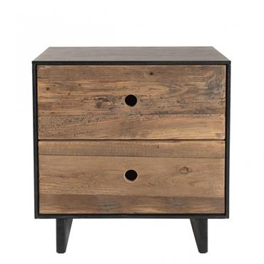 Chevet 2 tiroirs bois pin recyclé