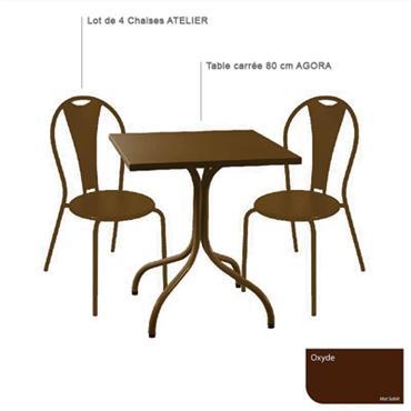 Ensemble table carrée Agora et 4 chaises Atelier