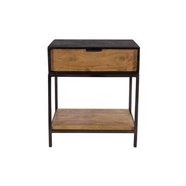 Table de chevet en bois et métal noir 1 tiroir