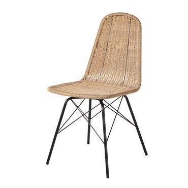 Chaise de jardin en résine tressée imitation rotin et métal noir Beckett