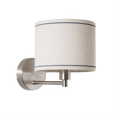 Applique en métal chromé et abat-jour écru