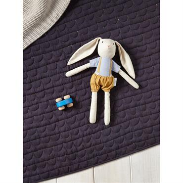 Doudou lapin chiffon bleu/ocre