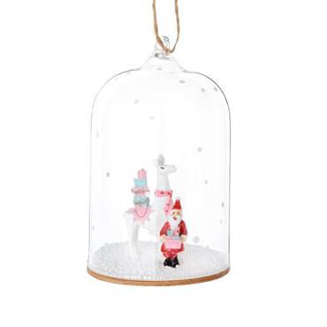Suspension de Noël cloche décor lama et Père Noël