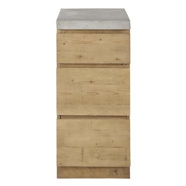 Meuble bas de cuisine 1 porte 1 tiroir en épicéa et béton