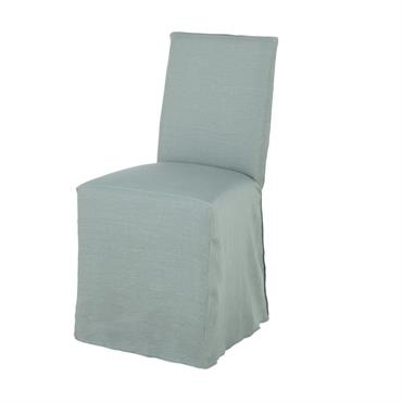 Housse de chaise en lin lavé vert jade