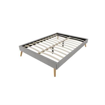 Cadre de lit scandinave en tissu gris clair 140x190