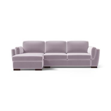 Canapé d'angle gauche 4 places en velours lilas