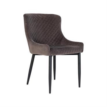 Chaise confortable en velours matelassé Gris