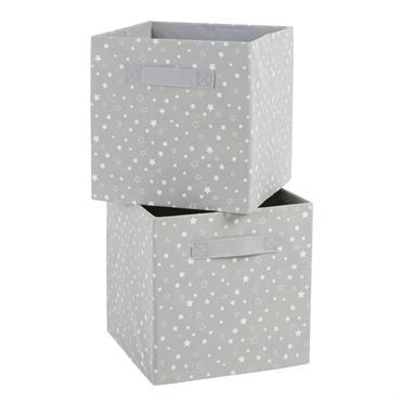 Caisses de rangement grises imprimé étoiles blanches