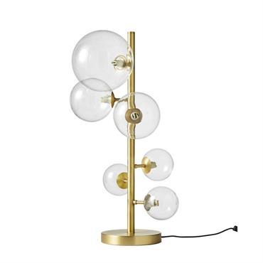 Lampe 6 globes en verre et métal doré