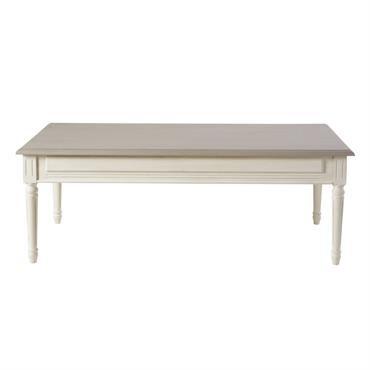 Table basse 2 tiroirs ivoire et taupe Camilla