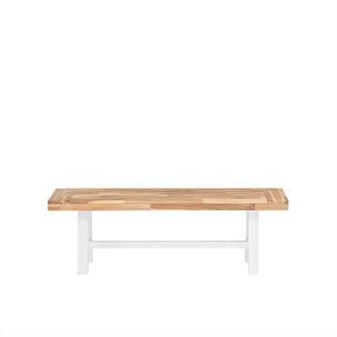 Banc de jardin en bois avec pieds blancs