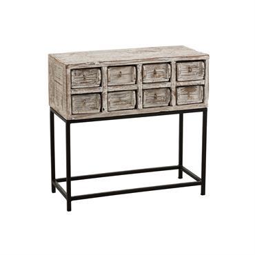Console vintage 8 tiroirs en bois recyclé