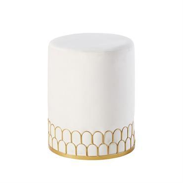 Tabouret en velours blanc motifs ajourés en métal doré