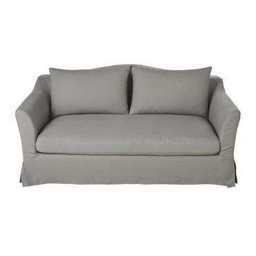 Canapé-lit 2 places en lin gris clair Anaelle