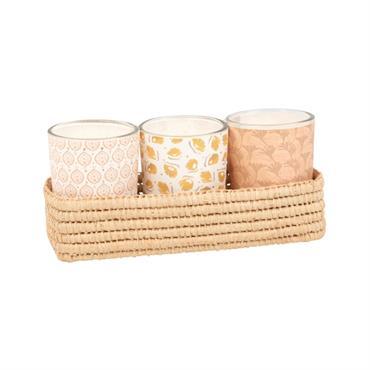 Coffret 3 bougies lumignons parfumées en verre et raphia