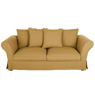 Canapé-lit 3/4 places en lin ocre