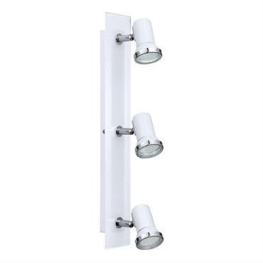 Barre 3 spots orientables de salle de bain acier & verre L46cm