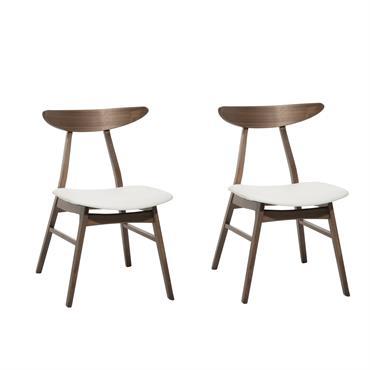 Lot de 2 chaises en simili cuir blanc