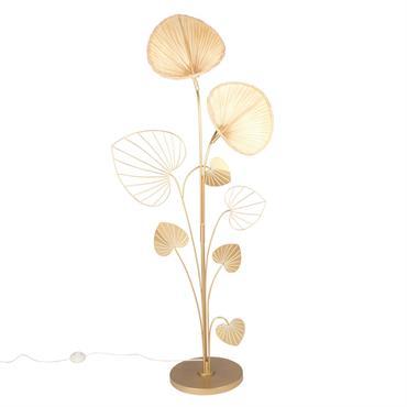 Lampadaire ginkgo en métal doré et bambou H145