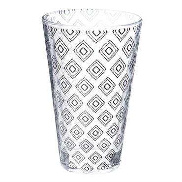 Chope en verre motifs losanges noirs CARRÉ