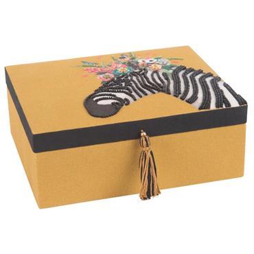 Boîte à bijoux jaune moutarde brodée zèbre