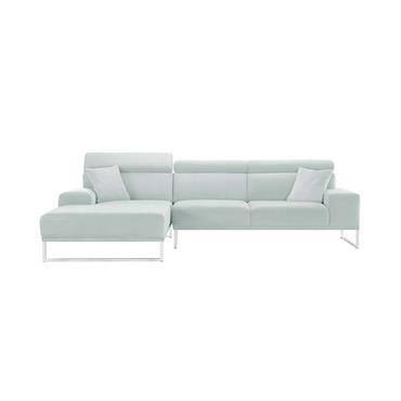 Canapé d'angle gauche 5 places en velours gris pastel
