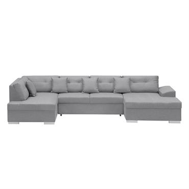Canapé d'angle gauche panoramique convertible en tissu gris clair