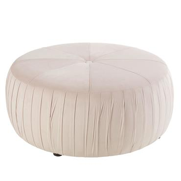 Pouf en velours rose et pin