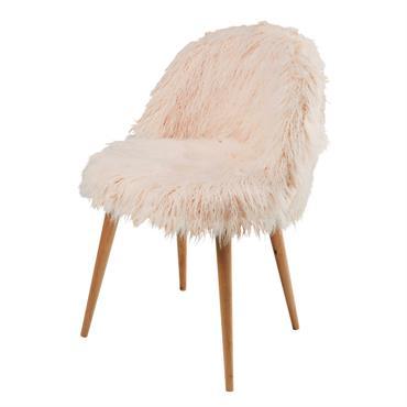 Chaise vintage en fausse fourrure rose et bouleau Mauricette