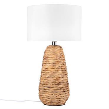 Lampe en jacinthe et métal et abat-jour blanc