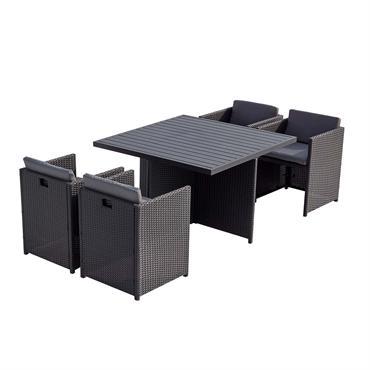 Table et chaises 4 places encastrables alu et résin noir/gris