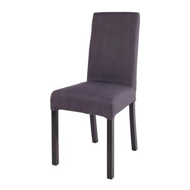 Housse de chaise en coton gris charbon 41x70