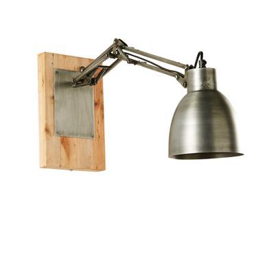 Applique articulée en métal brossé et manguier