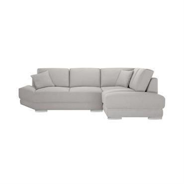 Canapé d'angle droit 5 places toucher lin taupe