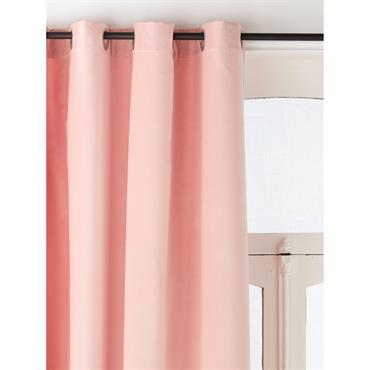 Rideau velours à oeillets rose nude